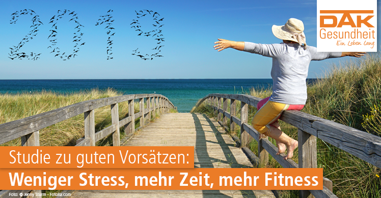 Studie zu guten Vorsätzen: Weniger Stress, mehr Zeit, mehr Fitness. Quelle: DAK Gesundheit