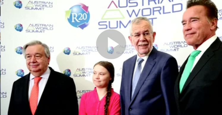 Klimaschutzaktivistin Greta Thunberg und Schauspieler und Fitnessinfluencer Arnold Schwarzenegger rufen beim Austrian World Summit in Wien zum Umdenken auf.