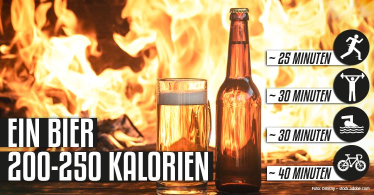 Ein Bier enthält laut Kalorientabelle Alkohol rund 200 bis 250 Kalorien – dies entspricht Trainingszeiten von 25 Minuten Joggen über 30 Minuten Krafttraining oder Schwimmen bis zu 40 Minuten Radfahren.