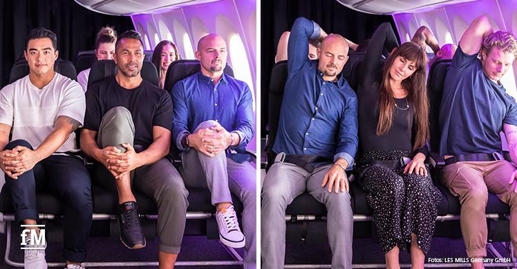 Workout im Flugzeug: Dehn-, Trainings- und Meditationsübungen sollen Wohlbefinden der Fluggäste steigern.