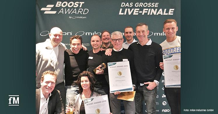 Die BOOST Award Preisträger mit den milon Partnern