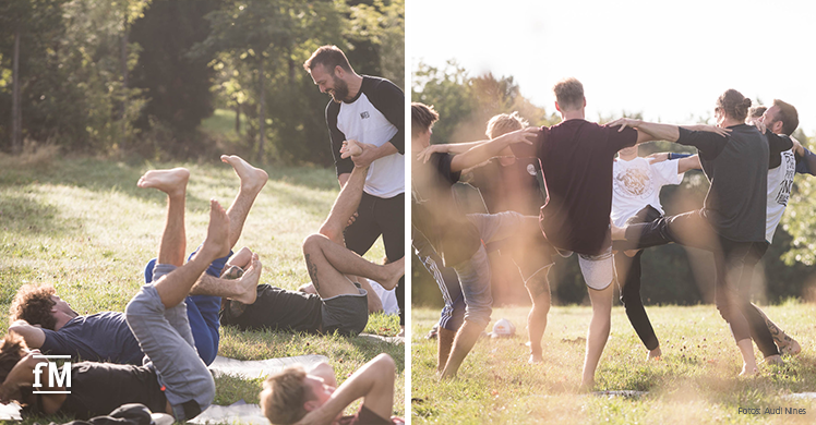 Yoga mit MTB-Profi Timo Pritzel beim Audi Nines MTB Event