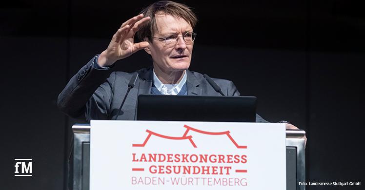 Fachmesse-Doppel MEDIZIN/TheraPro in Stuttgart: Prof. Dr. med. Karl Lauterbach, Mitglied des Bundestags (MdB), hielt die Key Note beim 5. Landeskongress Gesundheit
