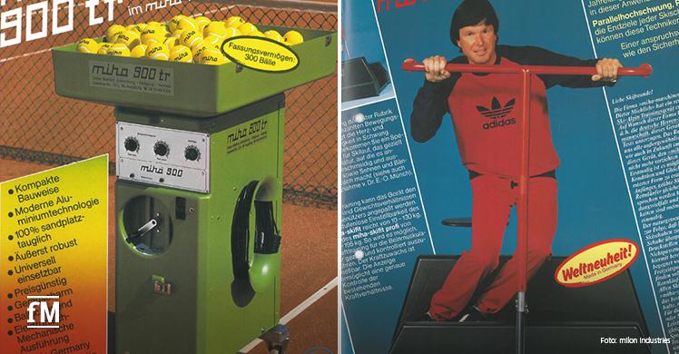 50 Jahre milon industries: Die miha Ballwurfmaschine aus dem Jahr 1972 und der Skitrainer von 1982