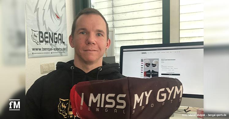 I miss my gym: Mund- und Nasenmaske fürs Fitnessstudio – buntes Statement Ende Corona-Lockdown im Fitnessstudio