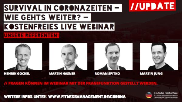 Jetzt anmelden für DHfPG Webinar 'Survival in Coronazeiten – Wie geht's weiter?' mit Henrik Gockel, Geschäftsführer Primetime Fitness
