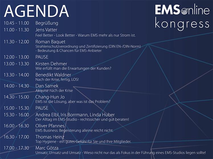 Der 1. EMS-Online Kongress: Speaker-Agenda