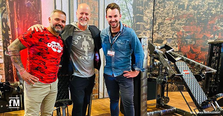 fitness MANAGEMENT zu Gast bei gym80 in Gelsenkirchen (von rechts): Janosch Marx (Geschäftsführer fM), Rainer Schaller (CEO RSG Group) und Simal Yilmaz (Inhaber gym80 International).