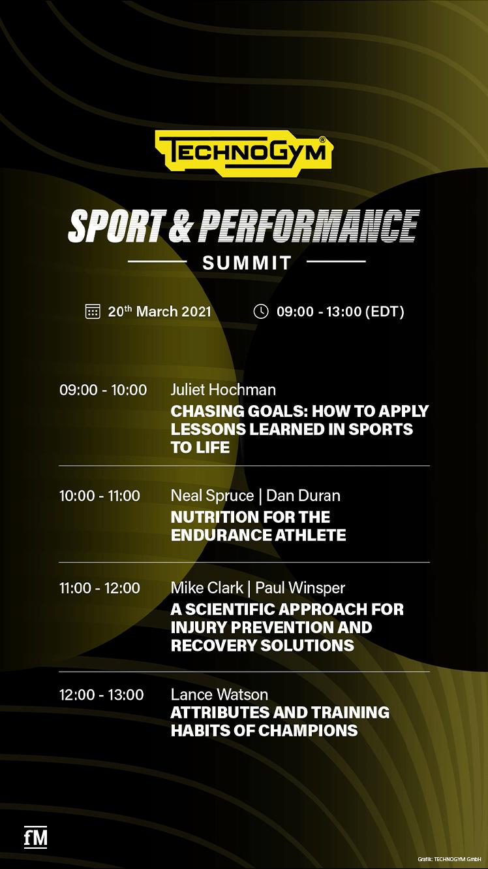 Zeitplan des virtuellen Events 'Sport & Performance Summit Endurance Athlete Edition'