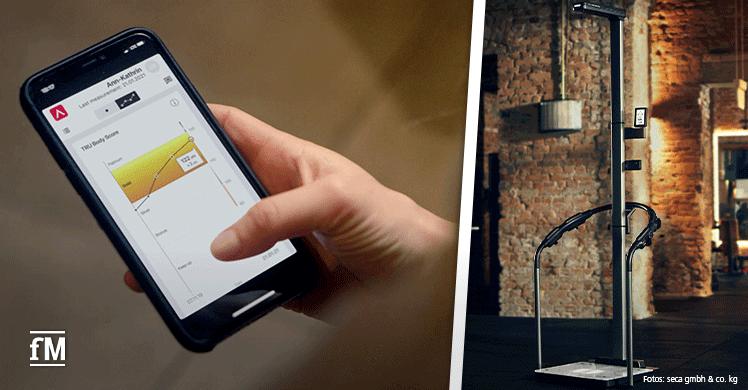 Der TRU BodyScore zeigt das Fitnesslevel auf einen Blick (rechts). Das hat nur die seca TRU: Glasplattform, optionale Ultraschall-Höhenmessung und Stehhilfe mit festen Griffpositionen (links).