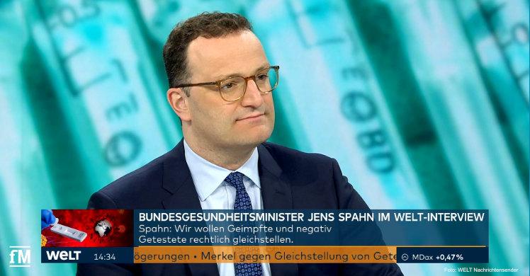 Bundesgesundheitsminister Jens Spahn (CDU) im Interview mit dem Nachrichtensender WELT.