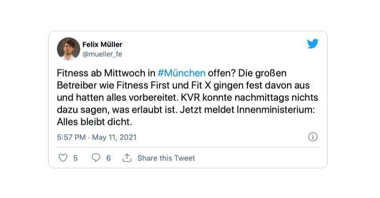 Klare Aussage des Innenministeriums von Bayern: 'Fitnessstudios müssen vorerst geschlossen bleiben'.