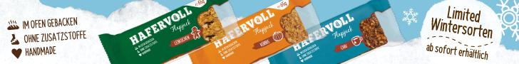 HAFERVOLL – Das Müsli für die Hosentasche: Limitierte Wintersorten ab sofort erhältlich. Flapjacks sind keine gewöhnlichen Müsliriegel.